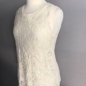 Vince Camuto Ivory Lace Sweater Vest